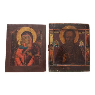 Russian Orthodox Icon Paintings on Wood Panels, Early 20th Century - Set of 2 For Sale