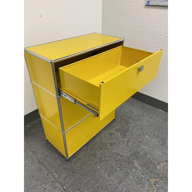 Mid-Century Modern Usm Fritz Haller Yellow Filing Cabinet For Sale - Image 3 of 11