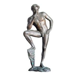 """Circa 1930s Art Deco """"Lucifer Resting"""" Bronze Sculpture by Antonio Salemme For Sale"""