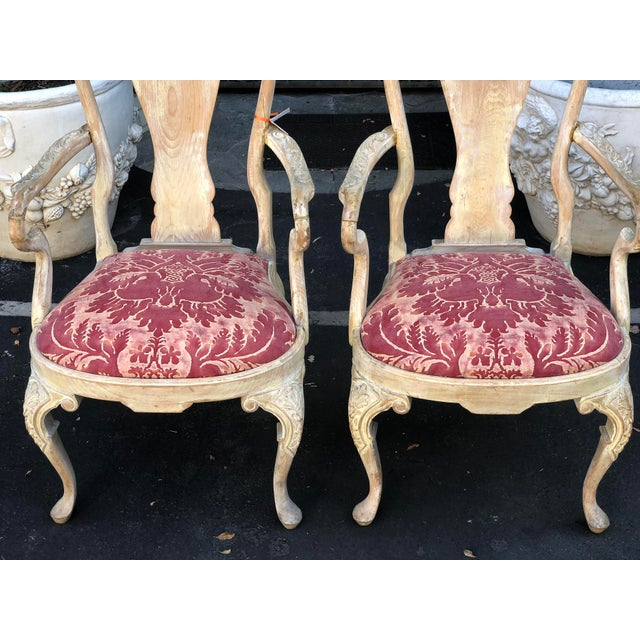 Mid 19th Century Pair of Antique George III Fortuny Designer Arm Chairs For Sale - Image 5 of 6