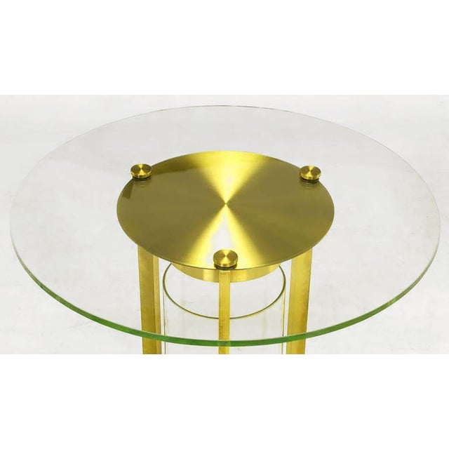 1950s Brass & Glass Cylindrical End Table Attributed To Dorothy Thorpe For Sale - Image 5 of 7