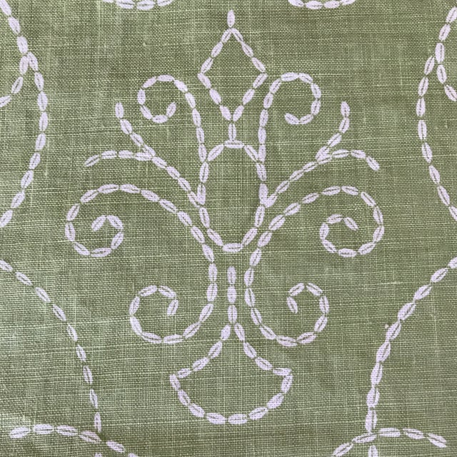 "Fabric Raoul ""Vizcaya"" Textiles Green Linen Fabric 2 1/3 Y For Sale - Image 7 of 9"