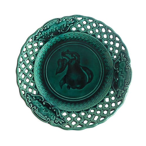 Green Majolica Pear Wall Plate For Sale