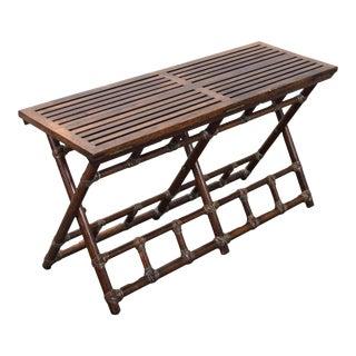 Vintage McGuire Rattan Oak Folding Bench