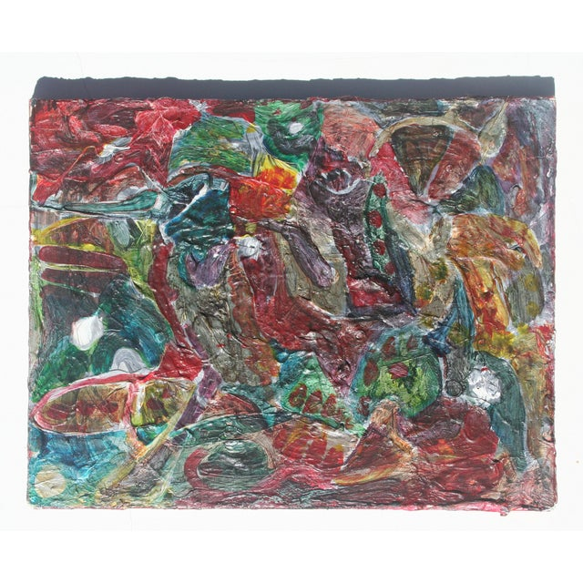 Dynamic and colorful abstract with great brush strokes and texture. Canvas mounted on wood frame, ready to hang vertically...