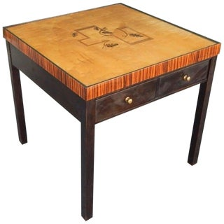 1930s Art Deco Cubic Inlaid Side/End Table For Sale
