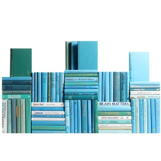 Modern Ocean Book Wall Decorative Books - Set of 75 For Sale