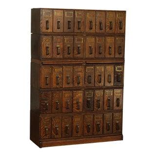 Macey Antique Oak 40 Drawer 5 Stack File Cabinet For Sale