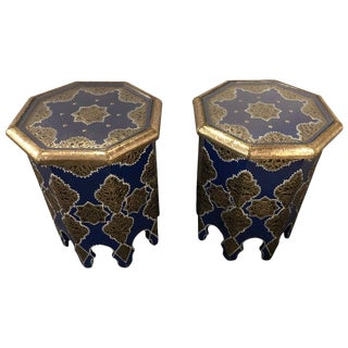 Pair of Moroccan Silver Metal Brass Inlaid Side Tables in Blue Majorelle For Sale