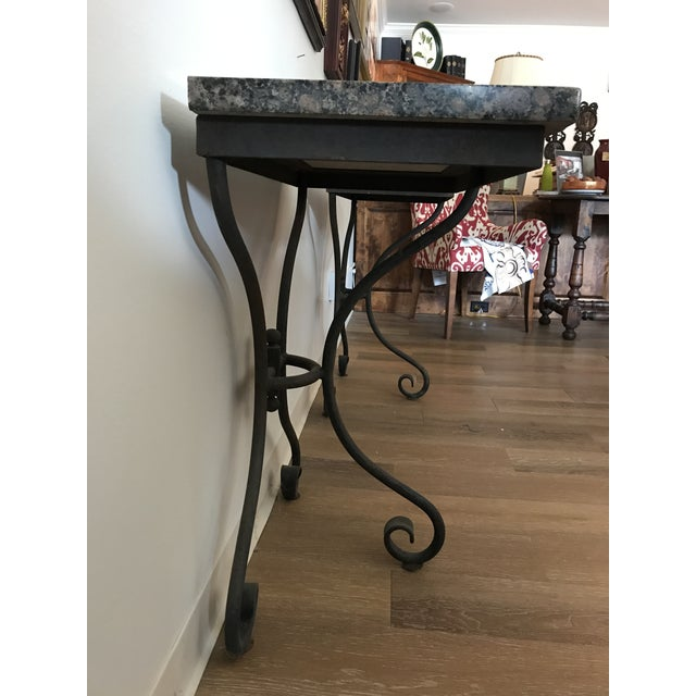 Traditional Vintage Granite Top Console Tables - a Pair For Sale - Image 3 of 6
