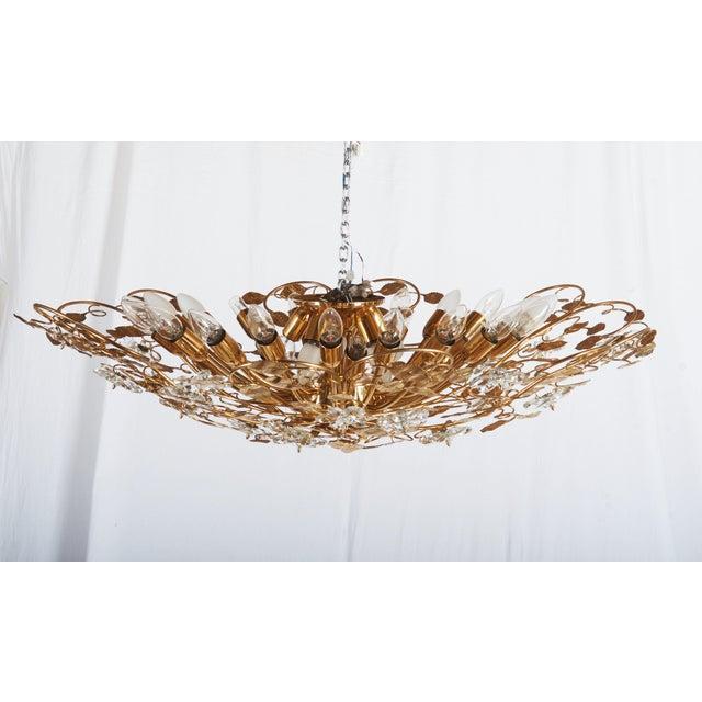 Brass Huge Bras and Crystal Flush Mount Chandelier For Sale - Image 7 of 13