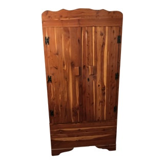 1950s Traditional Solid Cedar Restored Wardrobe Cabinet, Bar, Pantry For Sale