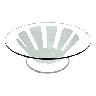 Mid-Century Round Lucite Cocktail Table With Beveled Glass Top For Sale