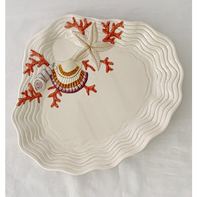 1970s Vintage Fitz & Floyd Ceramic Sea Shell Oyster Charger Serving Platter For Sale - Image 5 of 12