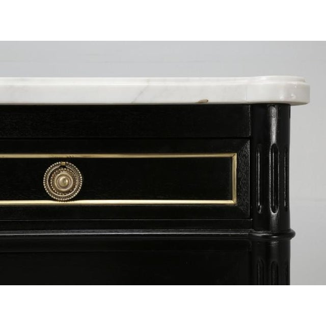 French Louis XVI Ebonized Buffet With Marble Top For Sale - Image 10 of 12