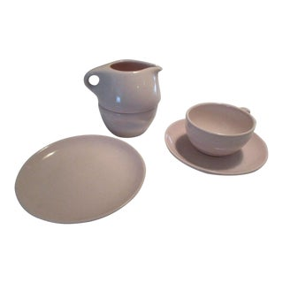 Russel Wright Iroquois China Light Pink Creamer Sugar Combo, Cup and Saucer & Small Plate - 5 Pc. Set For Sale