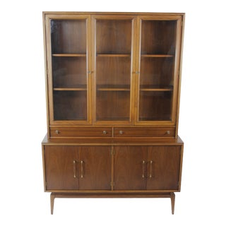 Vintage Mid Century Modern Walnut China Storage Cabinet For Sale