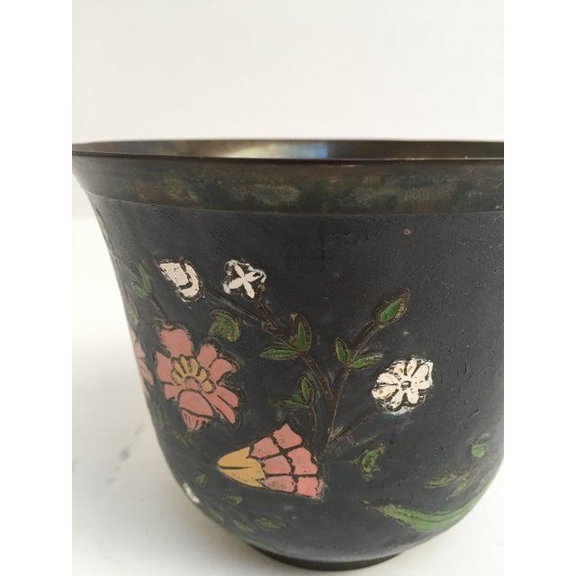 Asian Cloissone Enamel Vessel With Floral Design For Sale - Image 9 of 10