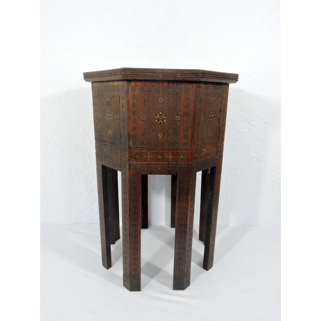 Old Morrocan Inlaid Mother of Pearl, Bone & Multi Wood Octagonal Occasional Side Table For Sale - Image 4 of 13