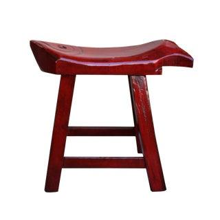 Oriental Handmade Rustic Distressed Red Fish Shape Wood Stool