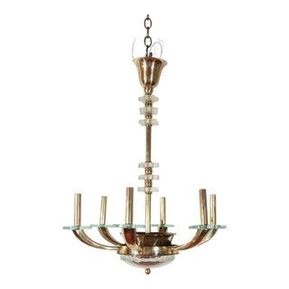 Mid-Century Modern Brass & Glass Chandelier For Sale