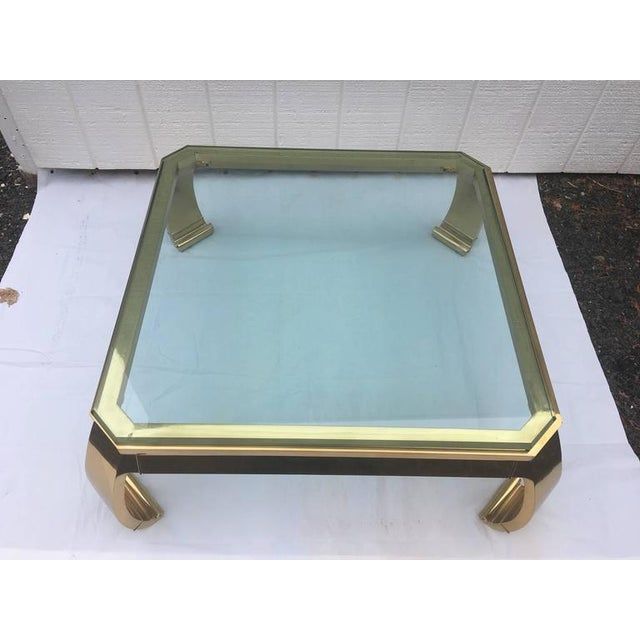 1970's Asian Inspired Brass & Glass Coffee Table by Mastercraft For Sale - Image 10 of 12