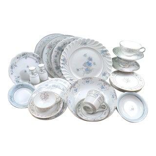 Mismatched Vintage Fine China Dinnerware Set - 27 Pieces