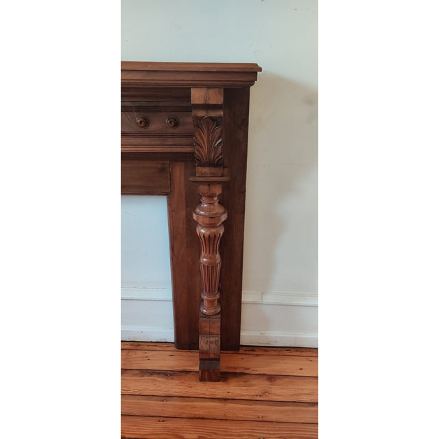 Victorian Victorian Walnut Classical Revival Fireplace Mantel For Sale - Image 3 of 8