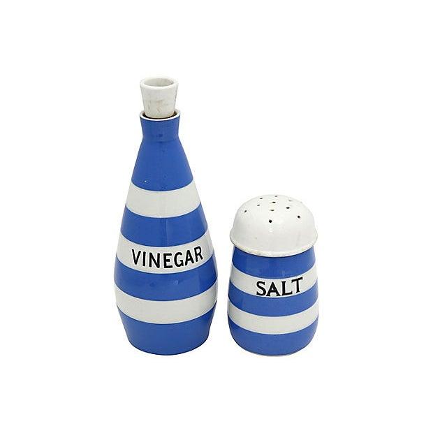 English Cornishware salt and vinegar set. 1920s - 1950s Maker's mark to underside for T.G. Green, original maker of the...