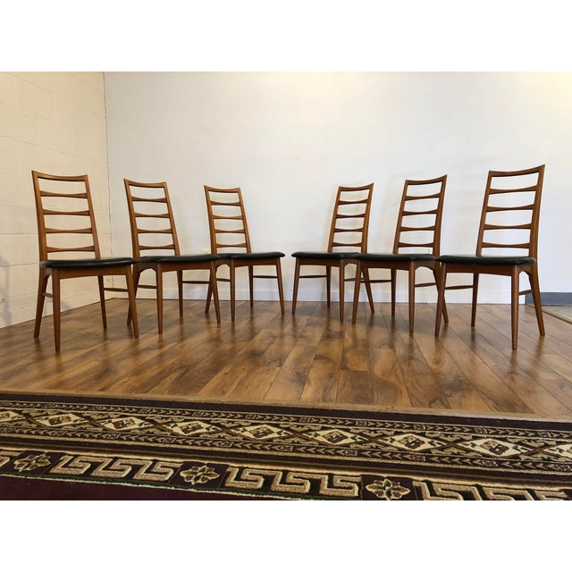 1960s Niels Koefoed for Koefoeds Hornslet Lis Teak Ladder Back Dining Chairs - Set of 6 For Sale - Image 5 of 13