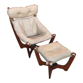 Luna Leather Sling Chair With Ottoman - A Pair