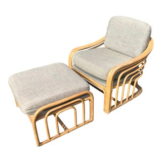 1960s Vintage Brown Jordan Rattan Club Chair and Ottoman For Sale