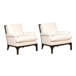 Exquisite Pair of Modern Chippendale Loungers in the Style of David Hicks For Sale
