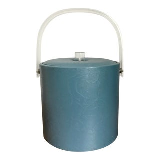 1970s Boho Chic Vinyl Light Blue and Lucite Ice Bucket For Sale