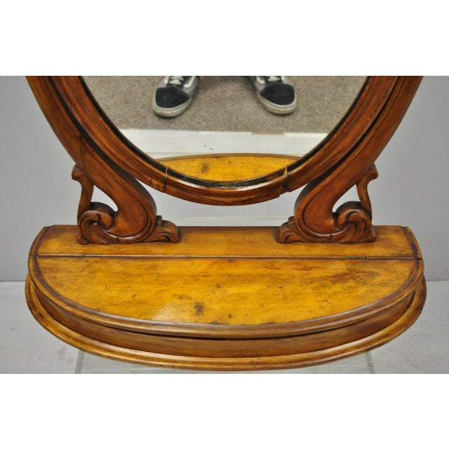 Antique Cheval Style Walnut Oval Mirror Lift Top Shaving Vanity Mirror For Sale - Image 4 of 12