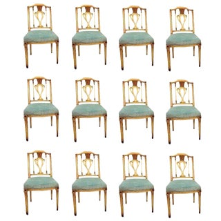 Fine Set of 12 Regency Painted Dining Chairs in the Manner of Maison Jansen For Sale