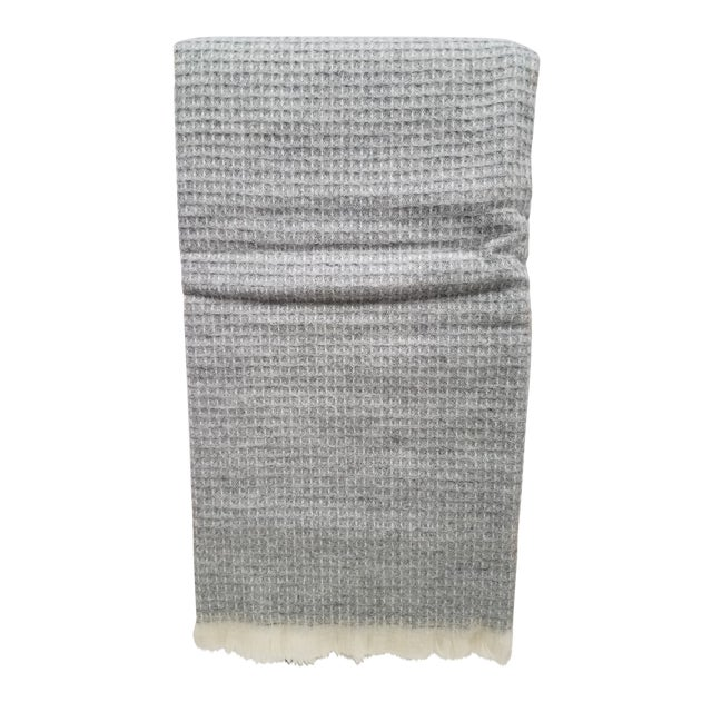 Wool Throw - Gray Waffle Weave Made in England For Sale