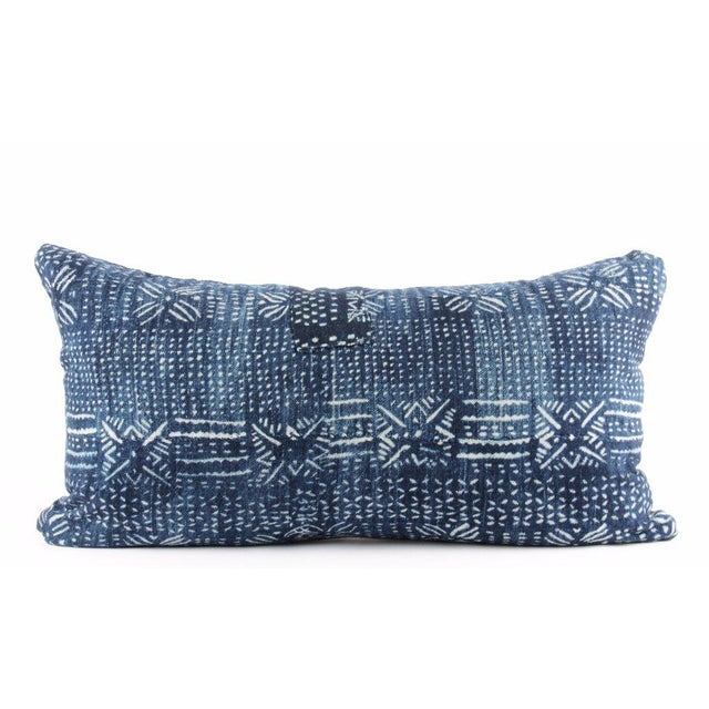 Botanical Blue Mudcloth Pillow For Sale - Image 4 of 4
