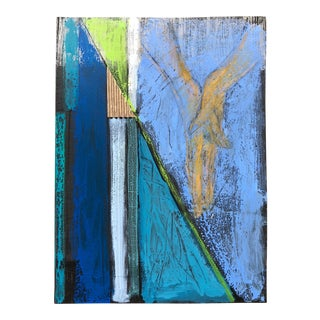 Colorful Vintage 70s Mixed Media Abstract Shapes Art Wall Hanging Modern Nutt For Sale