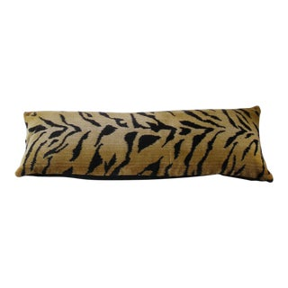 "Contemporary Clarence House Tiger Velvet Pillow Cover - 11""x29"" For Sale"
