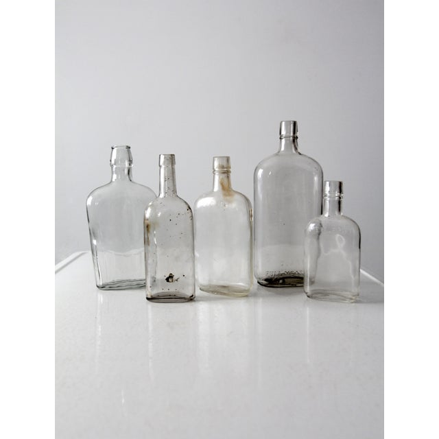Rustic Antique Apothecary Bottle Collection - Set of 5 For Sale - Image 3 of 6