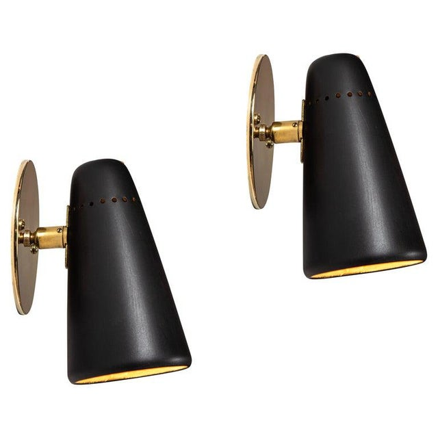 Mid-Century Modern 1950s Mid-Century Modern Stilnovo Sconces in Black and Brass With Yellow Label For Sale - Image 3 of 13