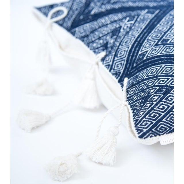 Navy Diamond Handwoven Pillow - Image 3 of 6