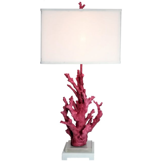 Vintage Pink Coral Resin Lamp With White Shade and Coral Finial For Sale - Image 13 of 13