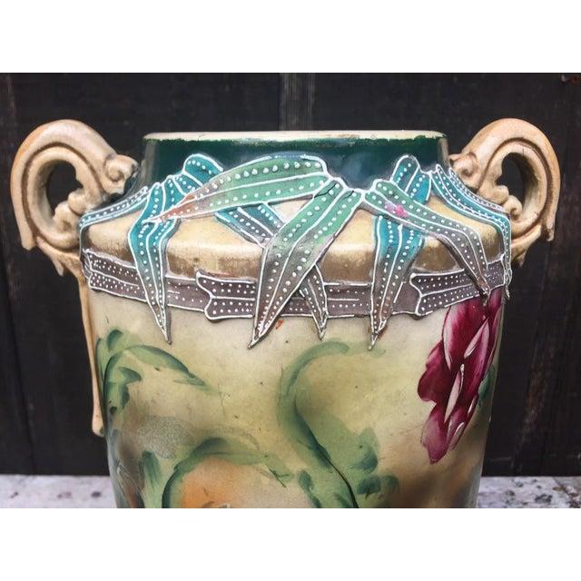 Green 1860s Nippon Moriage Slip Floral Vase For Sale - Image 8 of 10