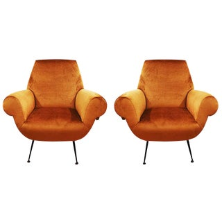 Pair of Sleek Armchairs For Sale