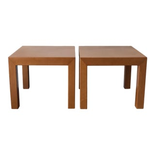Classic Leather Occasional Tables - A Pair For Sale
