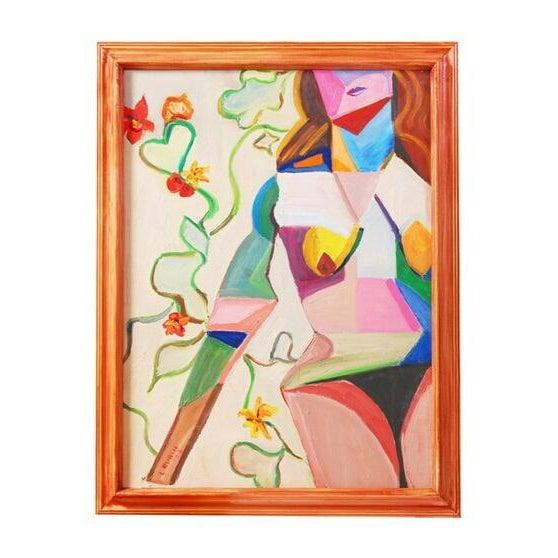 Original Vintage 70's Cubist Portrait Painting - Image 1 of 6