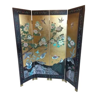 Vintage Black Lacquer 4-Panel Screen For Sale