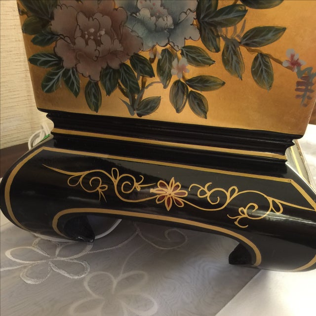 Chinoiserie Gold & Black Lamps - Pair - Image 4 of 6